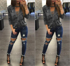 Sexy Women Loose Long Sleeve Blouse Ladies Casual Tops V Neck Lace Up T-Shirt