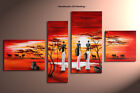 Framed Large Wall Art Modern African Tree Landscape Oil Painting on Canvas S3018