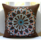 Brown Multicolor Embroidered 16X16 inch Silk Pillow Covers - Moroccan Style