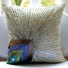 Peacock Feather Ivory Art Silk 16X16 in Decorative Pillow Covers-Peacock Beauty