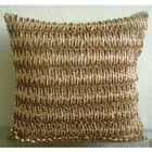 Gold N Copper Tan - 16X16 inch Faux Leather Gold Copper Pillows Cover
