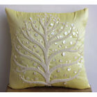 Pearl Tree Yellow Pillow Covers, Art Silk 16X16 inch Pillow Case - Yellow Tree