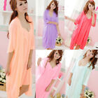 2pcs Womens Silk Comfy Satin Pajamas Bow Sleep Dress Nightgown Sleepwear Set US