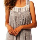 """Med LG XL Eileen West Gray w/White Chambray Floral 50"""" Ballet Cotton Night gown"""