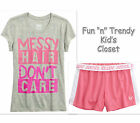 NWT Justice Girls Size 5 Messy Hair Graphic Tee Shirt Top Mesh Shorts 2-PC SET