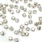 Sew-on Stone 3mm to 8mm Glass Rhinestone silver settings montee beads Crystal