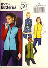 BUTTERICK SEWING PATTERN VEST SEMI FITTED LINED EASY SIZE 6-14 # B5957