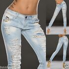 130 DESTROYED STRETCH CRASHED SKINNY JEANS ICE BLUE SIZE SMALL UK 8/36