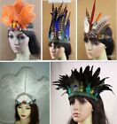 1920s Peacock Feather Headpieces Fascinator Hair Clip Bridal Wedding Festival