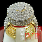 MENS LADIES REAL 925 SILVER LAB DIAMOND YELLOW GOLD FINISH LOLLIPOP RING BAND
