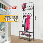 18 Hook Hat Coat Stand Clothes 3-Tier Shelf Shoe Rack Hanger Hooks Decor Metal