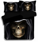 3D Skull with Hat Bedding Set Duvet Cover Quilt Cover Pillowcases 3pcs US ship