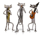Metal Playing Singing Cat Figurine Guitar Saxophone Craft Gift Home Decoration