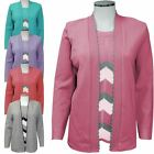 Ladies Womens Zig Zag inserted Twin Set Knitted Cardigan Sweater Jumper Top