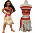 Girl Women Moana Cosplay Costume Polynesia Princess Dress Halloween Top + Skirt