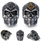 New Mens Skull Free-Mason Silver Fashion Jewelry Masonic Gold Sign Finger Rings