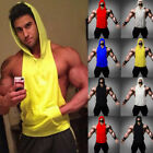 Men Gym Bodybuilding Sleeveless Stringer Hoodie Tank Top Sport Hooded Shirt