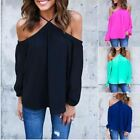 Women Halter Off shoulder Long Sleeve Sexy Top Blouse Clothes Casual Summer Tops