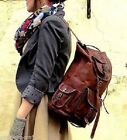 Men's and Women's.New Large Genuine Leather Back Pack Rucksack Travel Bag