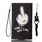 New fashion Cartoon Flower Leather slots wallet pouch case skin cover #5 F