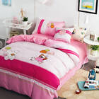 Girls Pink Bedding Set Balloon Applique Embroidered Duvet Covers Bed Sheet Set