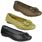 LIFESTYLE ROCHDALE LADIES BOW TRIM LEATHER SLIP ON FLAT CASUAL DOLLY SHOES