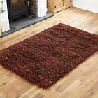MODERN SMALL MEDIUM RED COLOUR  7CM THICK PILE WOOL RUG SHAGGY CONTEMPORARY RUG
