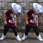 US Toddler Kids Baby Boys Short Sleeve Tops T-shirt Long Pants Outfits Clothes B