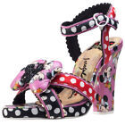 Irregular Choice Dotty Minnie Womens Black Leather & Fabric Casual Shoes Buckle