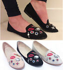 Ladies Womens Flat Slip On Loafers Casual Work School Pumps Diamante Shoes Size