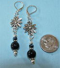 MIDNIGHT SITARA Roundel Silver Plated LEVERBACK Drop Earrings OPTIONS: Connector