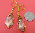 PEACH Hexagon Glass Gold Plated LEVER BACK Drop Earrings