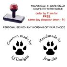 PERSONALISED PAW PRINT RUBBER STAMP LIBRARY SCHOOL CRAFTS HANDMADE HOBBY CARDS