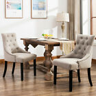 Set of 2 Dining Chairs Elegant Button Tufted Pattern Fabric Dining Room