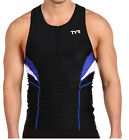 Men's TYR Blue Black White Competitor Triathlon Cycling Tank Top SPF 50 S XS
