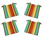 """Set of 4 -Red Yellow Green Blue Stripe Foam Chair Cushions with Ties - 16"""" x 16"""""""