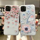For iPhone 8 X 6s 7 Plus XS Max Xr Emboss Floral Relief  Soft Gel Silicone Case