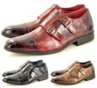 Men's Croc Skin Pattern Monk Strap Slip On Formal Casual Loafer Shoes Size 7-11