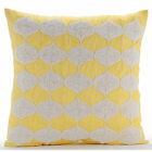 Yellow Art Silk 16X16 inch Beaded Lattice Trellis Pillowcases - Sunsight