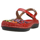 Laura Vita Billy 51 Womens Red Multicolour Leather Casual Sandals Buckle