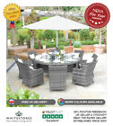 Nova Lyon 8 Seat Outdoor Garden Furniture 1.8m Round Rattan Patio Dining Set