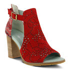 New In Box L'Artiste Women's LASHON-RDS Red Suede Retro Chunky Heel Sandals