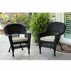 Resin Wicker Patio Chair with Cushion by Jeco- Set of 2