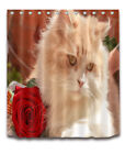 Rose Cat Fabric Shower Curtain Set Polyester Liner Bathroom Accessories Curtains