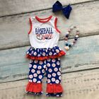 Baseball Y'all Ruffle Tank Capri Necklace Bow Red White Blue 4pc Set Sizes 2T-8