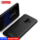 For Samsung S9 & S9 Plus Black Carbon Fiber Soft TPU Silicone Back Case Cover