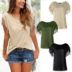 Women Ladies Fringe Summer Loose Top Short Sleeve Blouse Casual Tops T Shirt