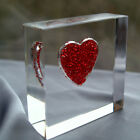 Love Sparkles Red Crystal Heart Token Paperweight with Free Engraving (optional)