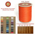 "Fil Au Chinois 50g ""Lin Cable"" WAXED LINEN thread #419 ORANGE, 5 sizes avail"