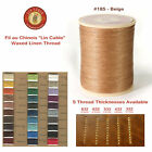 "Fil Au Chinois 50g ""Lin Cable"" WAXED LINEN thread #185 BEIGE, 5 sizes avail"